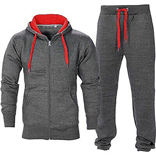 Juicy-Trendz-Uomo-Athletic-lunghi-Selves-pile-Zip-intera-palestra-tuta-da-jogging-Set-usura-attivo-CharcoalRed-S