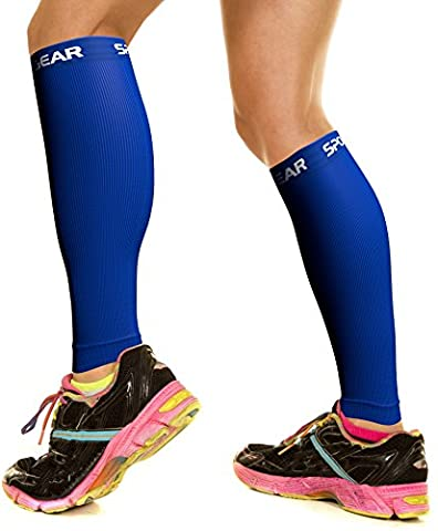 Calf Compression Sleeve for Men & Women, Best Footless Socks for Shin Splints & Leg Cramps, Runners Calves Circulation Remedy, Support Stockings, Running Gear, Basketball Lycra Tights - ALL BLUE