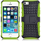 iPhone 5 Hülle, JAMMYLIZARD [ ALLIGATOR ] Doppelschutz Outdoor-Hülle für iPhone 5 / 5s / SE, LIMONENGRÜN