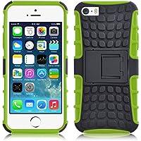 iPhone SE, iPhone 5 / 5s Hülle   JAMMYLIZARD Schutzhülle [Alligator] Doppelschutz Handyhülle Hardcase aus Polycarbonat und Silikon TPU Backcover Lifeproof Case Cover, Limonengrün