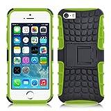 iPhone SE, iPhone 5 / 5s Hülle | JAMMYLIZARD Schutzhülle [Alligator] Doppelschutz Handyhülle Hardcase aus Polycarbonat und Silikon TPU Backcover Lifeproof Case Cover, Limonengrün