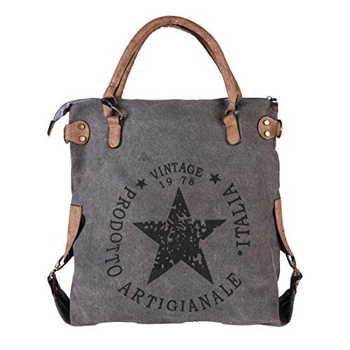 GWELL Vintage Schultertasche mit Sterne Canvas Tasche Handtasche Umhängetasche grau