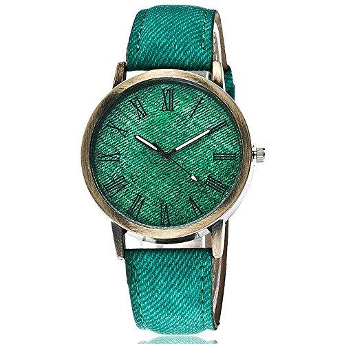IG-Invictus Liebhaber Quarz Analog Handgelenk Delicate Watch Luxus-Business-Uhren GN Männer und Frauen Paar Uhren römische Waagen Denim Gürtel Punk Uhren Grün
