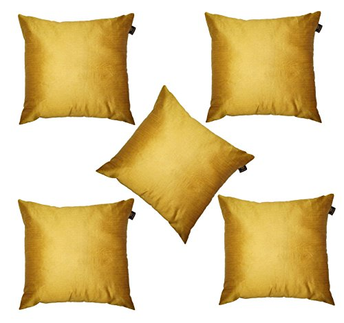 Lushomes Gold Dupion Silk Cushion Covers (Pack of 5)