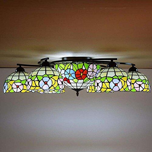 6 Tiffany Deckenleuchte (Tiffany Style Deckenleuchte 6-köpfige Glasmalerei Deckenleuchten Wohnzimmer Lampe Schlafzimmer Lampe American Rural Kronleuchter Leuchte E27, 110-240V (Glühbirnen nicht im Lieferumfang enthalten))