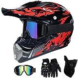 QYTK Motorradhelm Motocross Helm Kinder Rot Schwarz, MT-51 Full Face Off-Road Motorrad Cross Helme...