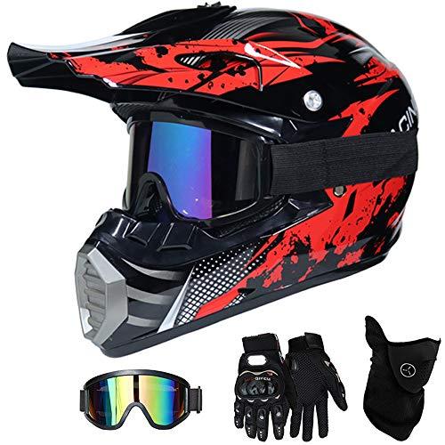 QYTK® Motorradhelm Motocross Helm Kinder Rot Schwarz, MT-51 Full Face Off-Road Motorrad Cross Helme mit Visier Brille Maske Handschuhe, Motorbike ATV MTB Freien Sport Motorcycle Helmet Set,M(54~55CM) (Atv Helm Mit Visier)