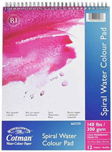 Winsor & Newton Cotman Aquarellpapier, Spiralblock, 12 Blatt, 300g/m², 30,5 x 23 cm (Lb-aquarell-block 140)