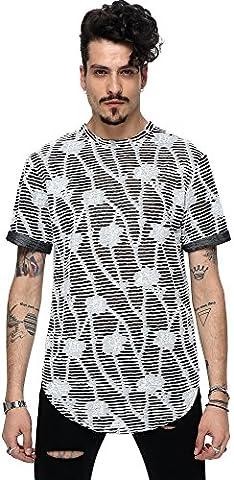 Pizoff Unisexe Hip Hop longues de base T-shirts avec effet usé Batik et Galaxy Imprimer Y1727-15-L
