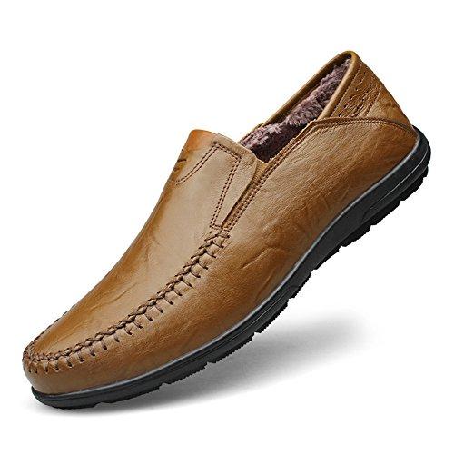 Shenn Homme Appartements Glisser sur Classique Décontractée Mariage Cuir flâneurs Moccasins Chaussures Kaki+Fourrure
