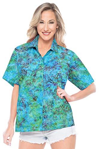 LA LEELA Hawaii-Hemd für Knopf kurzen Ärmeln Frauen unten abstrakt gedruckt Aloha S - DE Größe :- 42-44 Meeresgrün_AA183 -