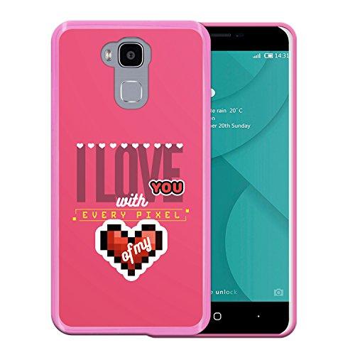WoowCase Doogee Y6 4G Hülle, Handyhülle Silikon für [ Doogee Y6 4G ] Herz - I Love You with Every Pixel of My Heart Handytasche Handy Cover Case Schutzhülle Flexible TPU - Rosa