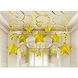NET TOYS 30 tlg. Sternen Girlanden gold Party Deko Spiralen Silvester Deckenhänger Weihnachten Dekogirlande Jubiläum Hängedeko Raumdekoration