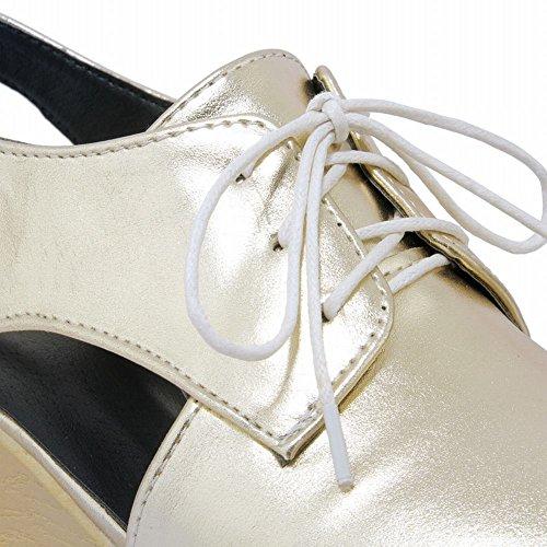 Mee Shoes Damen vierkant Keilabsatz Slingback Sandalen Gold