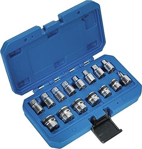 Sealey Oil Drain Plug Socket & Key Set 15PC Magnetic 3/8