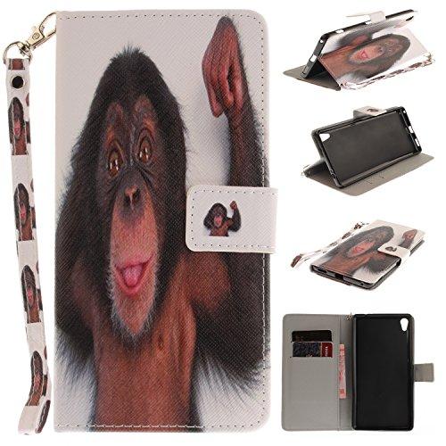 Coque Huawei P8 Lite Housse en Cuir,Meet de Colorful imprimé étui en cuir PU Cuir Flip Magnétique Portefeuille Etui Housse de Protection Coque Étui Case Cover avec Stand Support Avec des Cartes de Cré petit singe