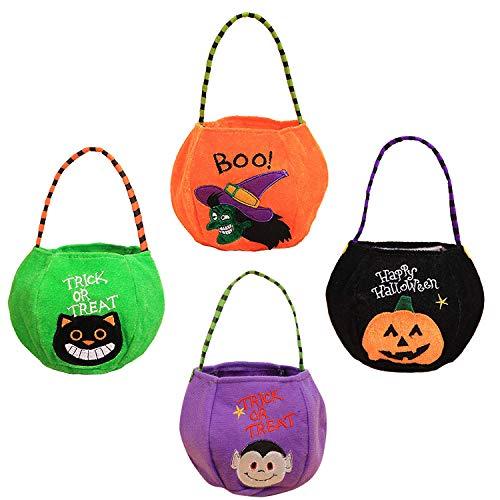 Halloween Stofftaschen Geschenktachen - 4 Verschiedene grueselige Designs - Taschen Perfekt für Trick or Treat, Mitgebsel, Leckerlis, Partytaschen, Geschenk.