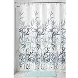 InterDesign Anzu Duschvorhang | waschbarer Duschvorhang in 183,0 cm x 183,0 cm | mit floralem Duschvorhang Motiv | Polyester mintgrün/grau