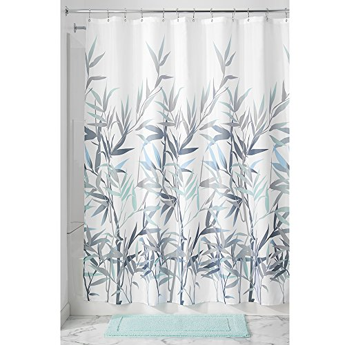 InterDesign Anzu Duschvorhang | waschbarer Duschvorhang in 183,0 cm x 183,0 cm | mit floralem Duschvorhang Motiv | Polyester mintgrün/grau Badezimmer-teppiche Interdesign