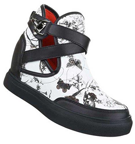Damen Sneakers Schuhe Freizeitschuhe Keil Wedges Schwarz Weiß Schwarz