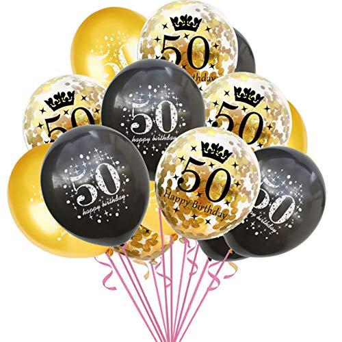 Haihuic 50. Geburtstag Dekoration Luftballons, 15 Stück Nummer 40 Konfetti Latexballons mit Happy Birthday Zeichen für 50-jährige Happy Birthday Party Supplies, 30 cm (50 Jährigen Geburtstag Dekorationen)