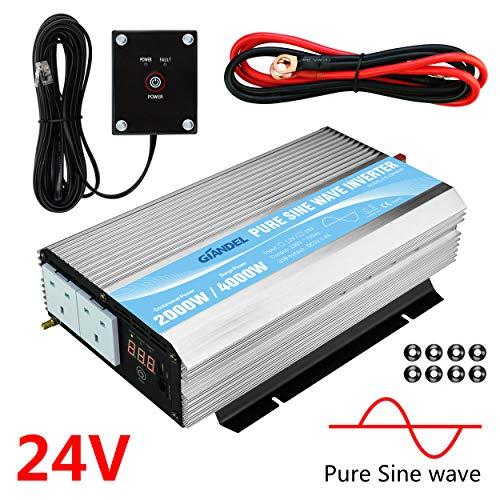 Giandel 2000 W Pure Sinuswelle Wechselrichter DC 24 V zu Wechselstrom 240 V mit Dual AC Steckdosen mit Fernbedienung 2,4 A USB und LED-Display