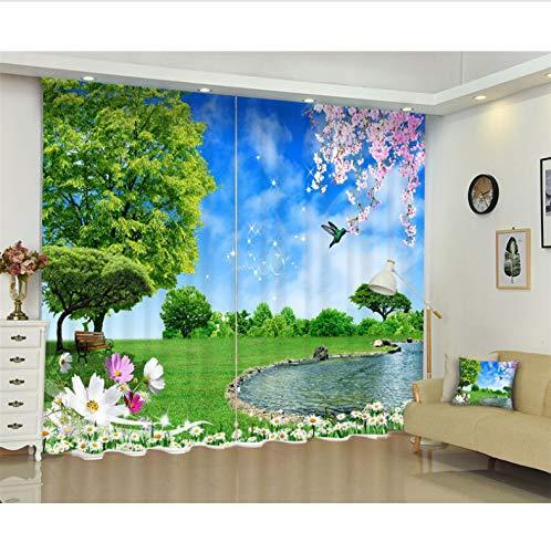 Parklandschaft Digitaldruck Blackout 3D Fenster Vorhänge Für Wohnzimmer Büro Schlafzimmer Vorhänge Mit Haken Und Ösen (2 Panels Set) 5816 Fenster