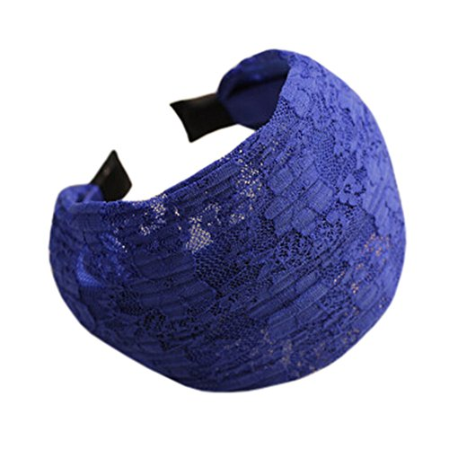 Damen-Haar-Zusatz Super Wide Stirnband Spitze-Haar-Haken-Haar-Band Blau