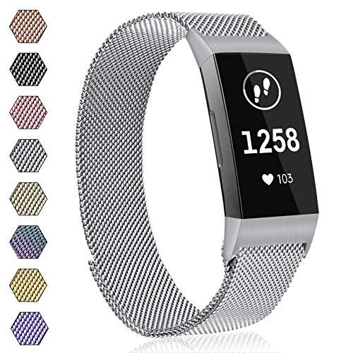 AK Armband für Fitbit Charge 3 Armband, Metall Ersatz Fitness Armbänder Voll Einstellbare mit Starkem Magneten Sperren für Fitbit Charge 3 (04 Silber, S)
