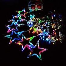 PINWHEEL Estrella Luces de cortina,12 Estrellas 138 piezas LED Impermeable Enlazable Luces de cadena para la boda, Navidad, Vacaciones, Fiesta y casa Decoración