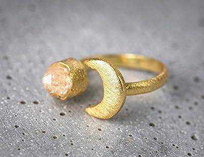 Bague dorée 18 carats/argent 925 LUNE avec cristal de roche