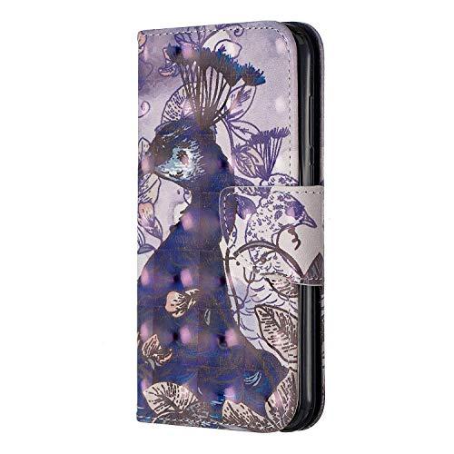 Docrax Handyhülle Lederhülle für Huawei Y5 2019 Flip Case Schutzhülle Hülle mit Standfunktion Kartenfach Magnet Brieftasche für Huawei Y5 (2019) - DOBFE120152 D2