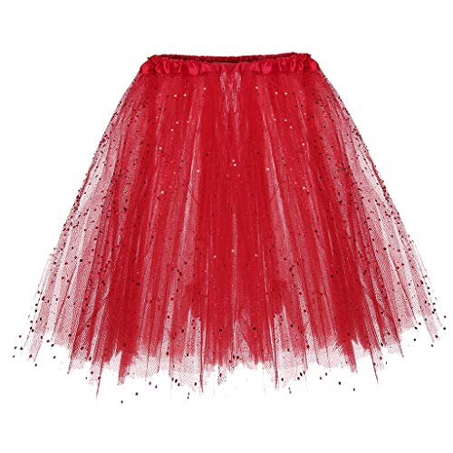 Andouy Damen Tutu Rock Tüll Sparkly Pailletten Balletttanz Organza 50s Jahre Kostüm Mini Dress-up Größe 36-44(36-44,rot) -