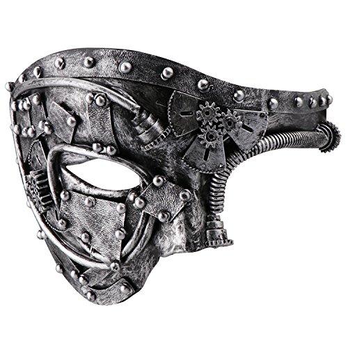 Coddsmz Masquerade Máscara de Steampunk Fantasma de la máscara Veneciana Máscara de Fiesta mecánica (Plata Antigua)