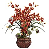 Nearly Natural 1245-BR Cymbidium with Decorative Vase Silk Arrangement, Burgundy by Nearly Natural