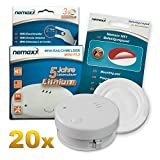 20x Detector de Humo Nemaxx Mini-FL2 Mini Detector de Fuego y Humo Detector con batería de Litio de Acuerdo con la Norma DIN EN 14604 + Nemaxx Pad de