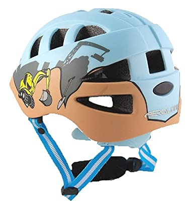 AWE® DiggerTM FREE 5 YEAR CRASH REPLACEMENT* In Mould Kids Boys Bicycle Helmet 48-52cm Blue by AWE®