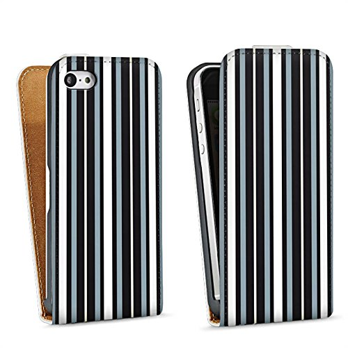 Apple iPhone 5s Housse Étui Protection Coque Bandes Tissu Motif Sac Downflip blanc