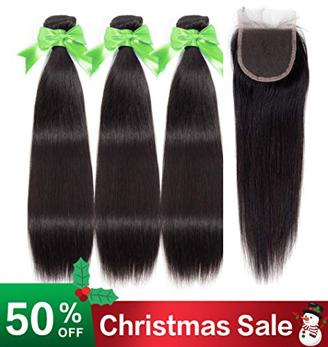 Lananel brazilian human hair 3 bundles with closure capelli umani con chiusura extension capelli brasiliani naturali lisci capelli veri 14 16 18 +12 closure capelli umani brazilian straight hair