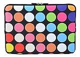 MySleeveDesign Laptoptasche Notebooktasche Sleeve für 10,2 Zoll / 11,6 - 12,1 Zoll / 13,3 Zoll / 14 Zoll / 15,6 Zoll / 17,3 Zoll - Neopren Schutzhülle mit VERSCH. DESIGNS - Points Black [10]