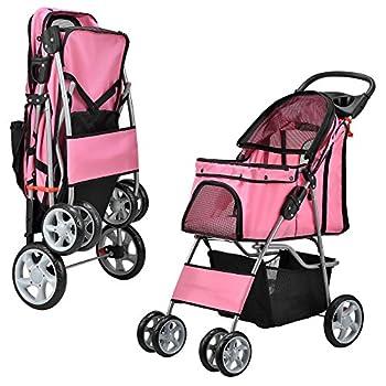 [pro.tec] poussette pour chien pet stroller poussette buggy pour chien protège-pluie à pousser roadster comprenant sac à courses rose vif