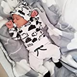 TIFIY Seasonal Selection Baby Clothes Outdoor Newborn Infant Baby Girl Boy Cloud Print T Shirt Tops+Pants Outfits Clothes Set (White, 70)