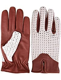 Classic English Leather Driving Gloves Crochet String back Chauffeur Vintage fashion