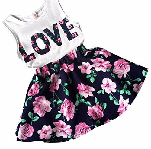 Le ragazze vestono Familizo Girls Love lettere stampate senza maniche Vest gonna floreale set Casual (Size:100, Marina Militare)