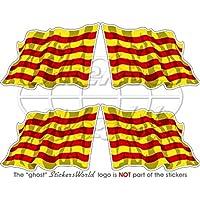 Pegatina de la bandera de Cataluña ondeando, bandera de Cataluña, España de 50mm. Vinilo para el casco, 4 unidades.