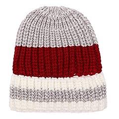 Idea Regalo - T-WNYD Cappucci di coda di cavallo in maglia tricolore autunnali e invernali, vino rosso