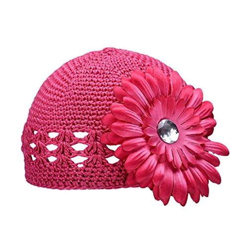 Culater® Fiore Cappelli invernali protezione di autunno della neonata (Rosso)