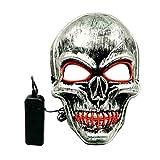 Partes de Halloween Horrible cráneo EL mascarada boca cosida LED Máscara...
