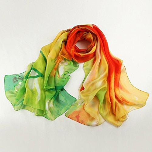 serviette de plage Chiffon Sunscreen multicolore Écharpe à foulard en élasthanne à coupe longue en écharpe sauvage ( Couleur : A ) D