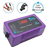 MASO Auto Battery Charger,2/6A 12/24v Volt Portable External Battery Charger for Automotive, Motorcycle